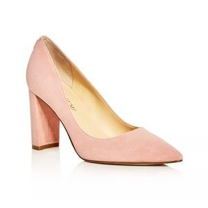 IVANKA TRUMP   Pointed Toe Suede Pumps Light Pink